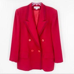 VTG CHRISTIAN DIOR 90s 80s Red Blazer Size 14